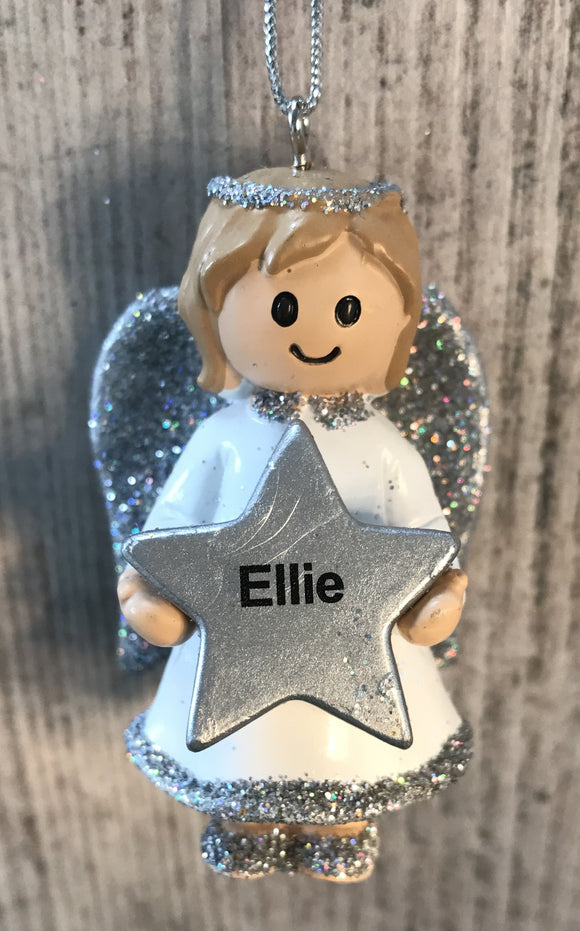 Personalised Name Christmas Angel - Silver or Gold Xmas Tree Decorations - Ellie