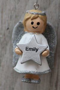 Personalised Name Christmas Angel - Silver or Gold Xmas Tree Decorations - Emily