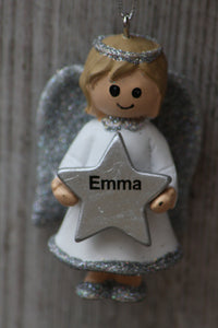 Personalised Name Christmas Angel - Silver or Gold Xmas Tree Decorations - Emma