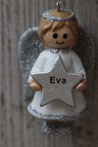 Personalised Name Christmas Angel - Silver or Gold Xmas Tree Decorations - Eva