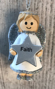 Personalised Name Christmas Angel - Silver or Gold Xmas Tree Decorations - Faith