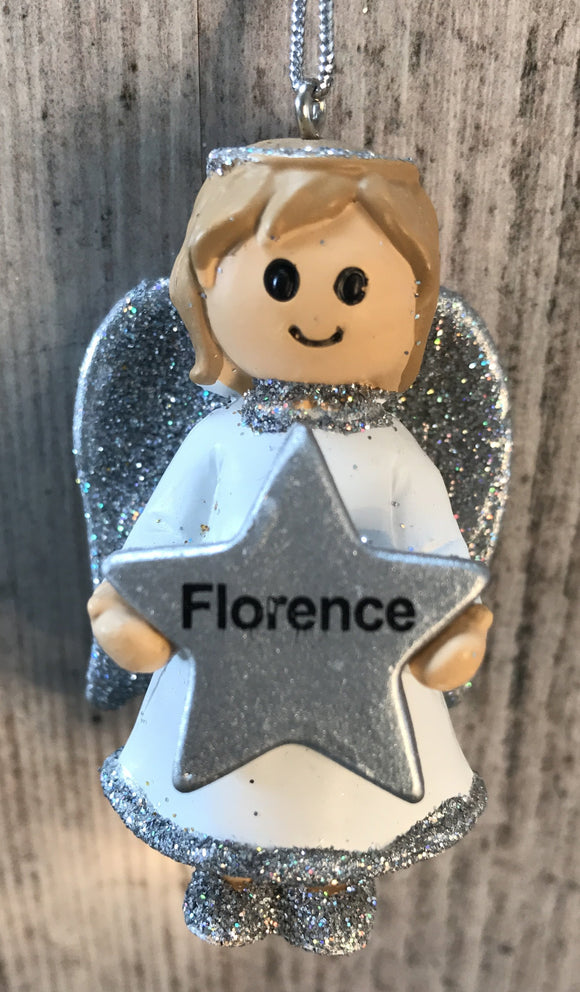 Personalised Name Christmas Angel - Silver or Gold Xmas Tree Decorations - Florence