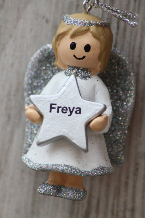 Personalised Name Christmas Angel - Silver or Gold Xmas Tree Decorations - Freya