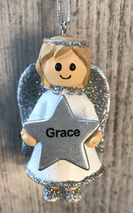 Personalised Name Christmas Angel - Silver or Gold Xmas Tree Decorations - Grace
