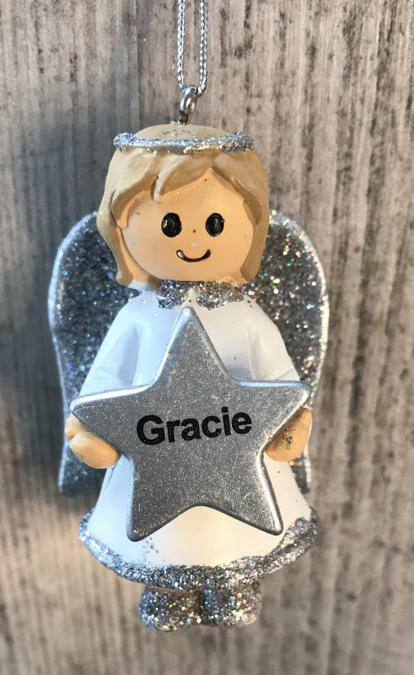 Personalised Name Christmas Angel - Silver or Gold Xmas Tree Decorations - Gracie