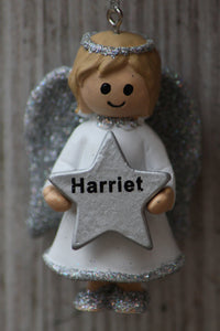 Personalised Name Christmas Angel - Silver or Gold Xmas Tree Decorations - Harriet