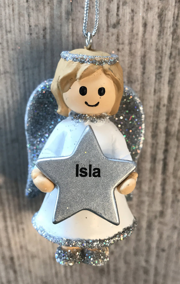 Personalised Name Christmas Angel - Silver or Gold Xmas Tree Decorations - Isla