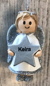 Personalised Name Christmas Angel - Silver or Gold Xmas Tree Decorations - Keira