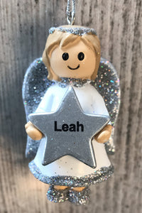 Personalised Name Christmas Angel - Silver or Gold Xmas Tree Decorations - Leah