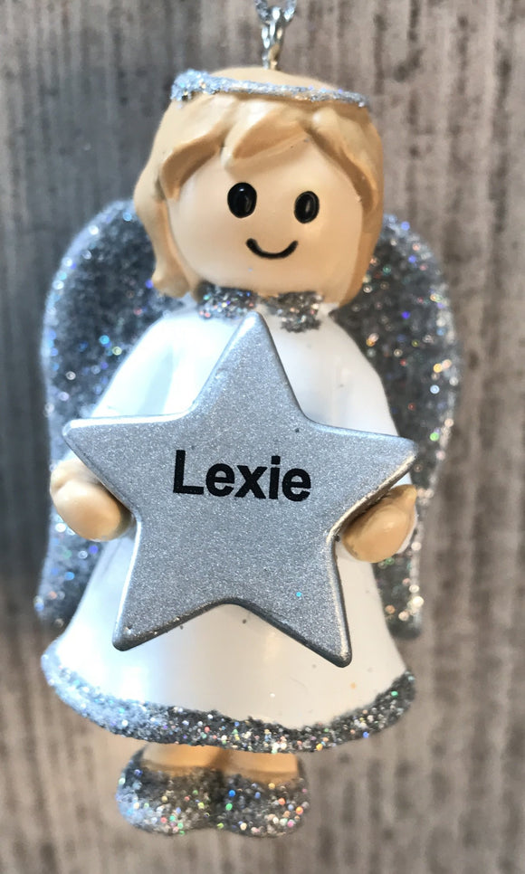 Personalised Name Christmas Angel - Silver or Gold Xmas Tree Decorations - Lexie