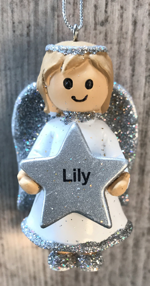 Personalised Name Christmas Angel - Silver or Gold Xmas Tree Decorations - Lily
