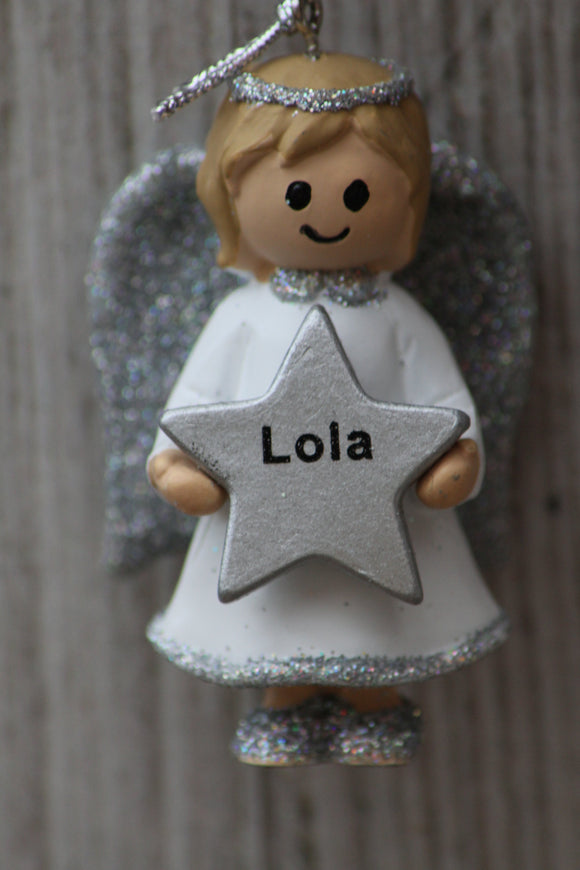 Personalised Name Christmas Angel - Silver or Gold Xmas Tree Decorations - Lola