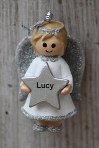 Personalised Name Christmas Angel - Silver or Gold Xmas Tree Decorations - Lucy