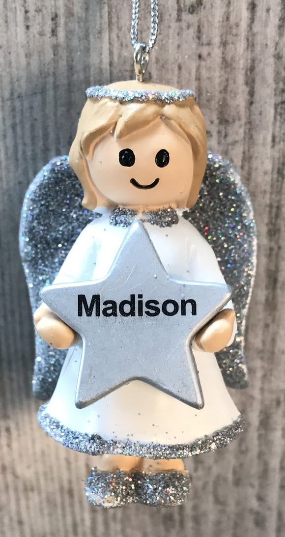 Personalised Name Christmas Angel - Silver or Gold Xmas Tree Decorations - Madison