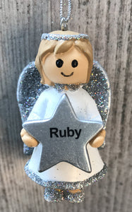 Personalised Name Christmas Angel - Silver or Gold Xmas Tree Decorations - Ruby