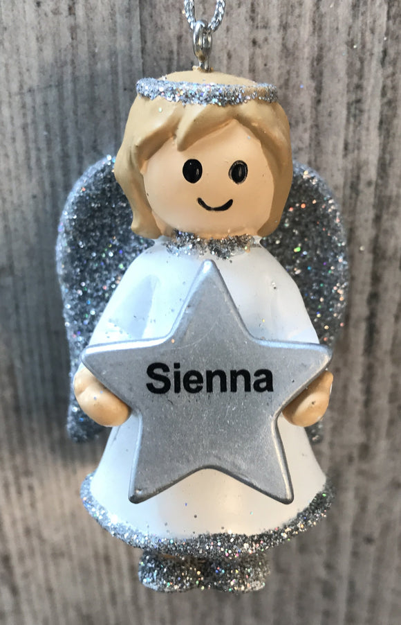 Personalised Name Christmas Angel - Silver or Gold Xmas Tree Decorations - Sienna