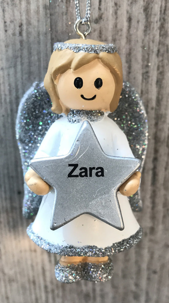Personalised Name Christmas Angel - Silver or Gold Xmas Tree Decorations - Zara