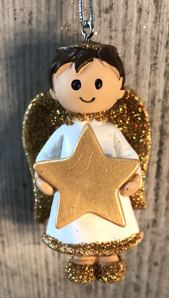 Personalised Name Christmas Angel - Silver or Gold Xmas Tree Decorations - Special Daddy