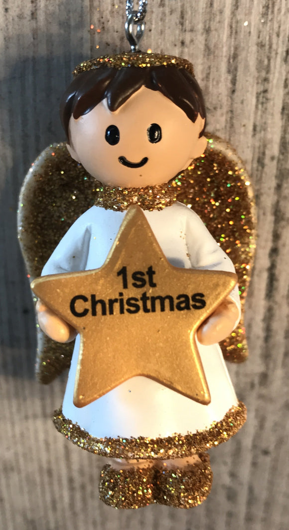 Personalised Name Christmas Angel - Silver or Gold Xmas Tree Decorations - 1st Christmas