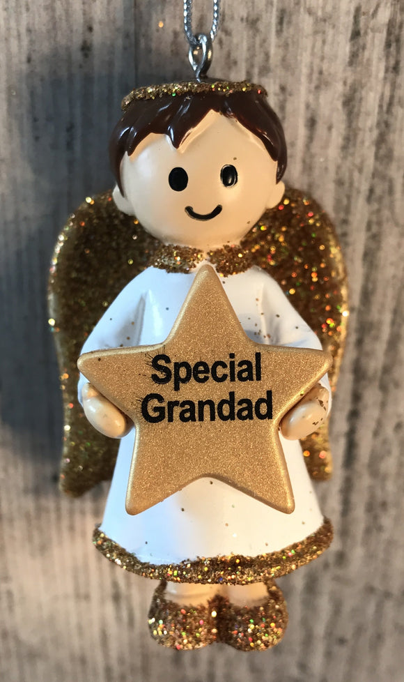 Personalised Name Christmas Angel - Silver or Gold Xmas Tree Decorations - Special Grandad