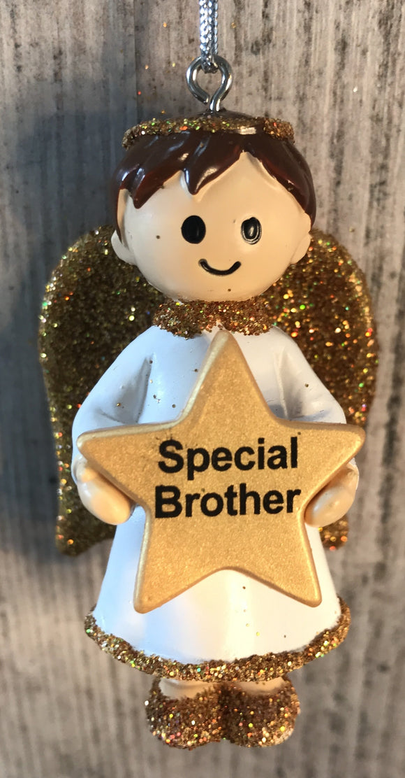 Personalised Name Christmas Angel - Silver or Gold Xmas Tree Decorations - Special Brother