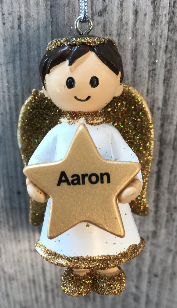 Personalised Name Christmas Angel - Silver or Gold Xmas Tree Decorations - Aaron