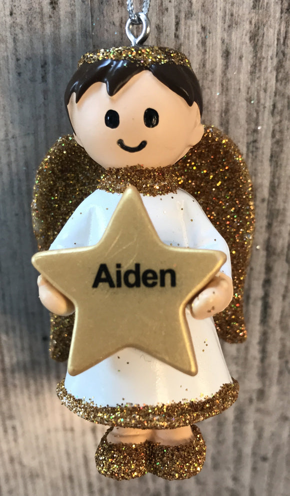 Personalised Name Christmas Angel - Silver or Gold Xmas Tree Decorations - Aiden