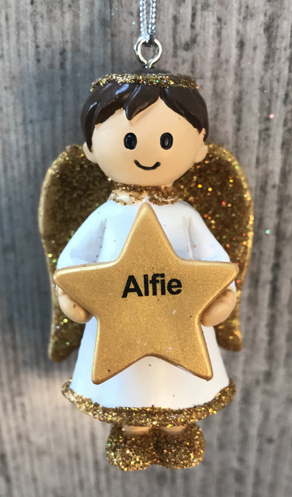 Personalised Name Christmas Angel - Silver or Gold Xmas Tree Decorations - Alfie