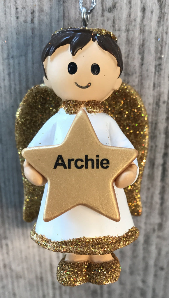 Personalised Name Christmas Angel - Silver or Gold Xmas Tree Decorations - Archie