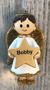 Personalised Name Christmas Angel - Silver or Gold Xmas Tree Decorations - Bobby