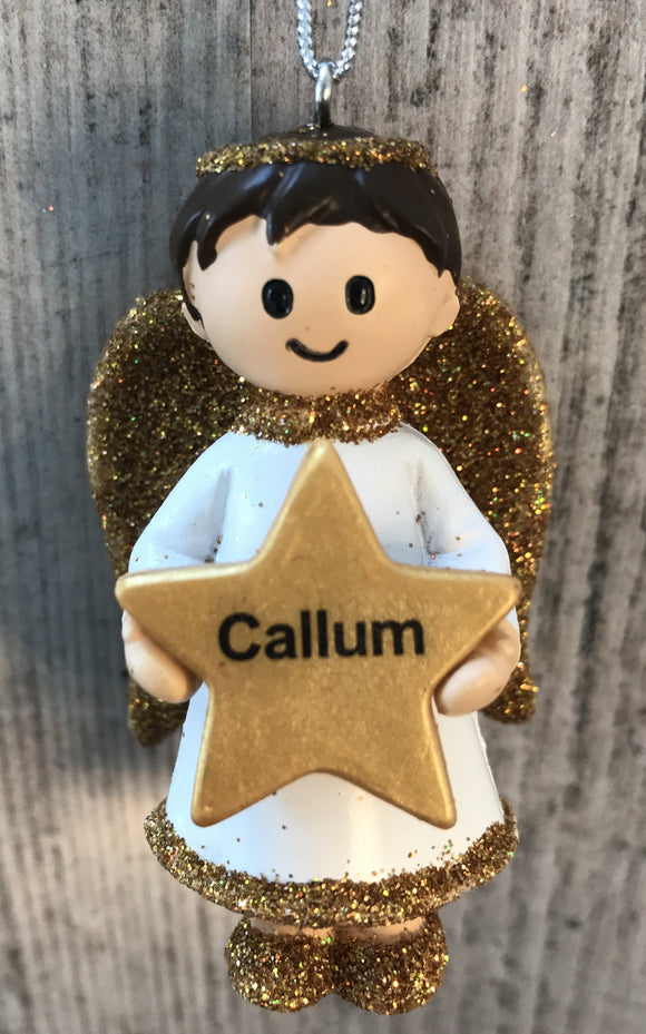 Personalised Name Christmas Angel - Silver or Gold Xmas Tree Decorations - Callum