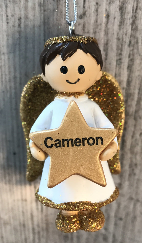 Personalised Name Christmas Angel - Silver or Gold Xmas Tree Decorations - Cameron