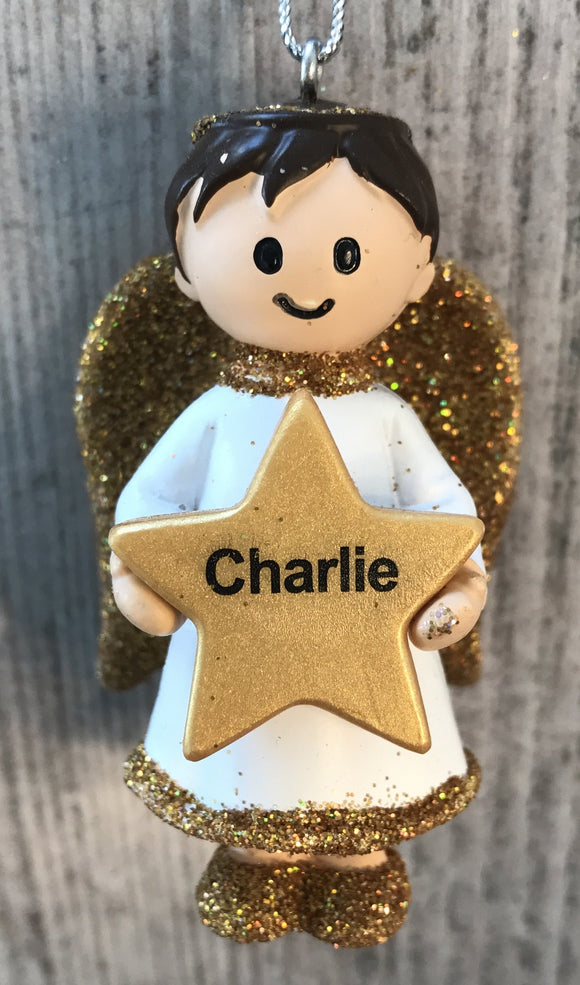 Personalised Name Christmas Angel - Silver or Gold Xmas Tree Decorations - Charlie