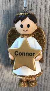 Personalised Name Christmas Angel - Silver or Gold Xmas Tree Decorations - Connor