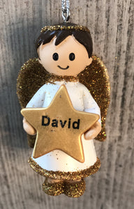 Personalised Name Christmas Angel - Silver or Gold Xmas Tree Decorations - David
