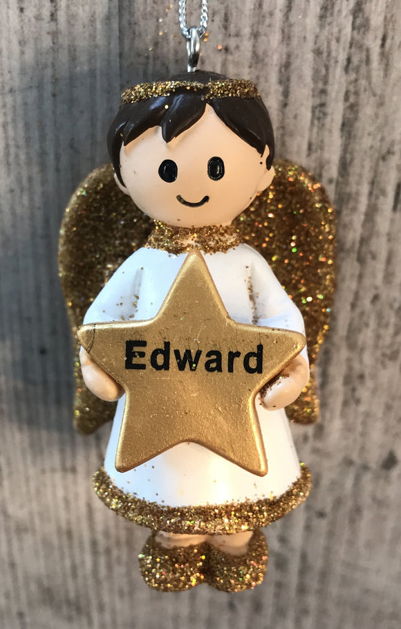 Personalised Name Christmas Angel - Silver or Gold Xmas Tree Decorations - Edward