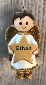 Personalised Name Christmas Angel - Silver or Gold Xmas Tree Decorations - Ethan