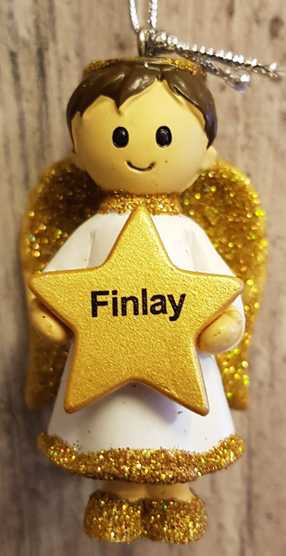 Personalised Name Christmas Angel - Silver or Gold Xmas Tree Decorations - Finlay