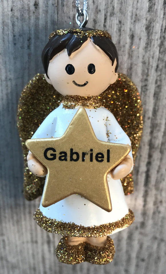 Personalised Name Christmas Angel - Silver or Gold Xmas Tree Decorations - Gabriel