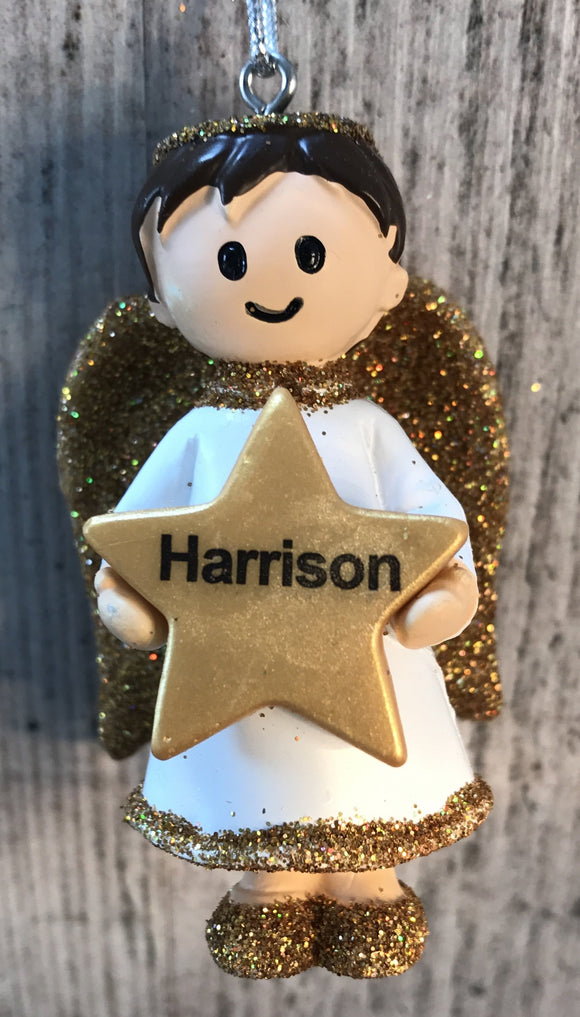 Personalised Name Christmas Angel - Silver or Gold Xmas Tree Decorations - Harrison