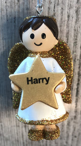Personalised Name Christmas Angel - Silver or Gold Xmas Tree Decorations - Harry
