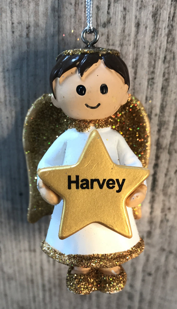 Personalised Name Christmas Angel - Silver or Gold Xmas Tree Decorations - Harvey