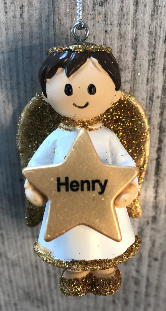 Personalised Name Christmas Angel - Silver or Gold Xmas Tree Decorations - Henry