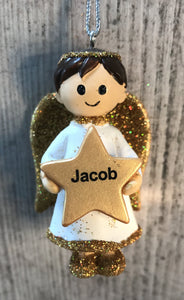 Personalised Name Christmas Angel - Silver or Gold Xmas Tree Decorations - Jacob