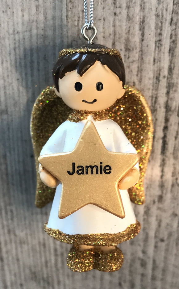 Personalised Name Christmas Angel - Silver or Gold Xmas Tree Decorations - Jamie