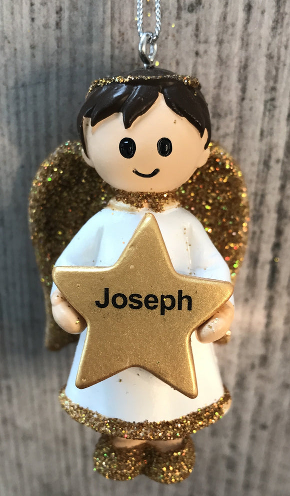 Personalised Name Christmas Angel - Silver or Gold Xmas Tree Decorations - Joseph