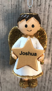 Personalised Name Christmas Angel - Silver or Gold Xmas Tree Decorations - Joshua