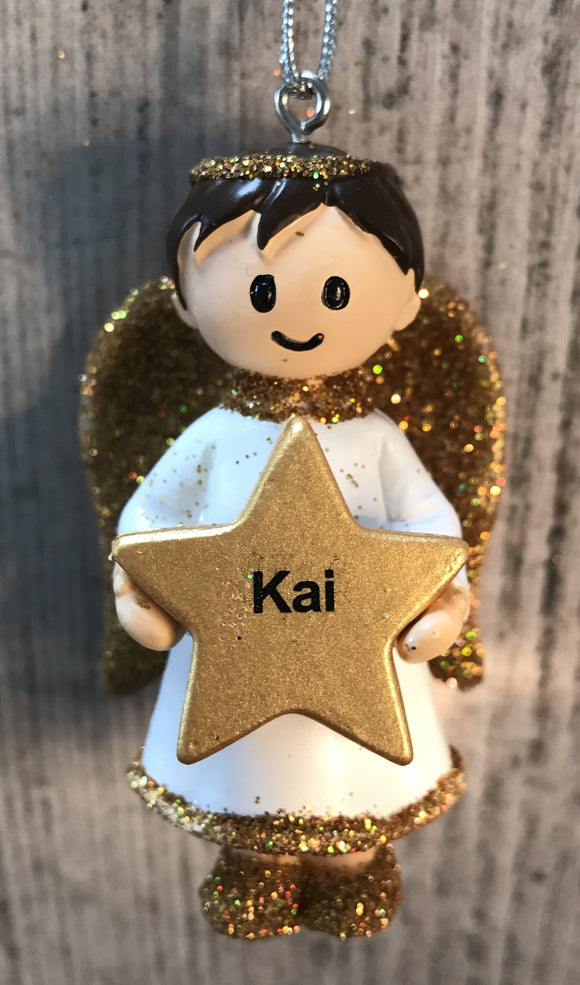 Personalised Name Christmas Angel - Silver or Gold Xmas Tree Decorations - Kai