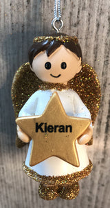 Personalised Name Christmas Angel - Silver or Gold Xmas Tree Decorations - Kieran