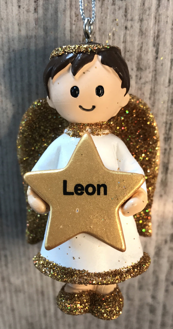 Personalised Name Christmas Angel - Silver or Gold Xmas Tree Decorations - Leon